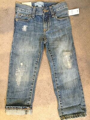 GAP- BLUE STRAIGHT JEANS WITH FADING AND STITCHED RIP LOOK EFFECT - AGE 3y -BNWT