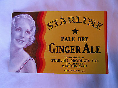 Rare Starline Pale Dry Ginger Ale label distributed by Starline Products Oakland