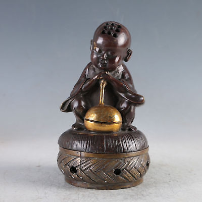 Chinese Gilt Copper Monk Incense   Burners Made By The Royal Qianlong