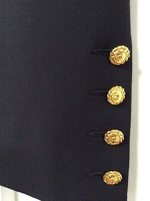 Vtg Chanel Classic Black Skirt GOLD Logo Buttons 80s 90s Boutique W 32 Size 38