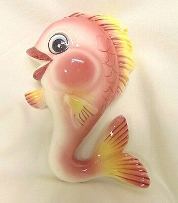 Vintage Lefton Fish Wall Plaque Decor ~Pink & Yellow ~