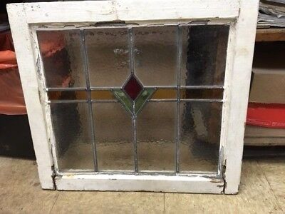 OLD ENGLISH LEADED STAINED GLASS WINDOW Pretty Flower With Color Band 22-1/2x20