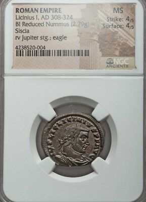 Roman Empire Licinius Bl reduced Nummus NGC MS 4/4 ancient coin