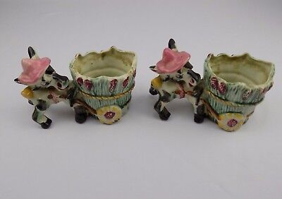 Pair of Ceramic Planters Donkeys Pulling a Wagon Small Vintage