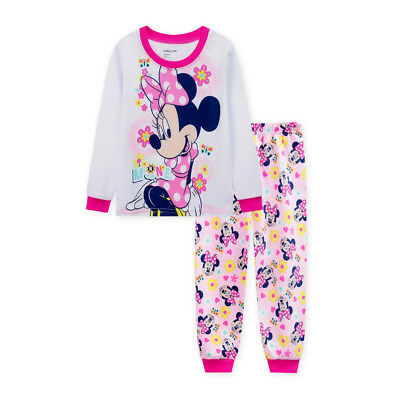 new kids baby Girls Minnie mouse long sleeve pyjama pjs size1-6 white