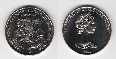 TURKS AND CAICOS ISL.   5 Crown 1991   Columbus Discovery