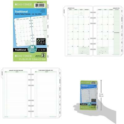 Traditional Tabbed Calendar Refill Jan - Dec 2018 Loose Leaf Portable Size New