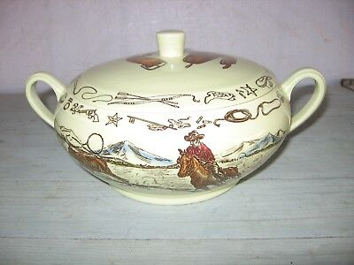 50's Era VERNON KILNS SOUP TUREEN HAND PAINTED FRONTIER DAYS WESTERN COWBOY EXCL