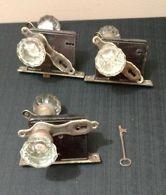 Vintage Antique Mortise Glass Door Knob LOT OF 3 SETS! Lock Set With Key