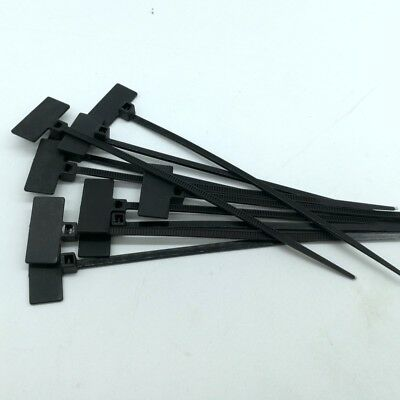 Black Marker Cable Ties Write On Labels Flags - Wire Power Tags Marks Cord