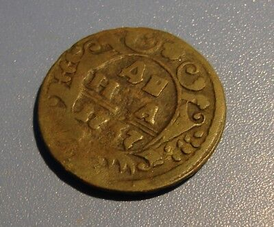 RUSSIAN MONARCHY  DENGA  1737. Copper. ORIGINAL.