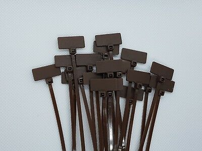 Brown Marker Cable Ties Write On Labels - Wire Power Tags Marks Flags(20x9mm)