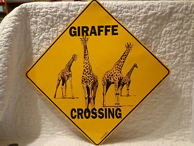"Crosswalks by Atlas Scren Printing GIRAFFE CROSSING 12"" Metal Sign USED"