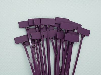 Purple Marker Cable Ties Write On Labels - Wire Tags Marks Cord Flags(20x9)