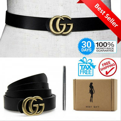 """Womens Genuine Leather Gold """"GG"""" Buckle Thin Belt For Jeans 0.9"""" Pants Belts New"""