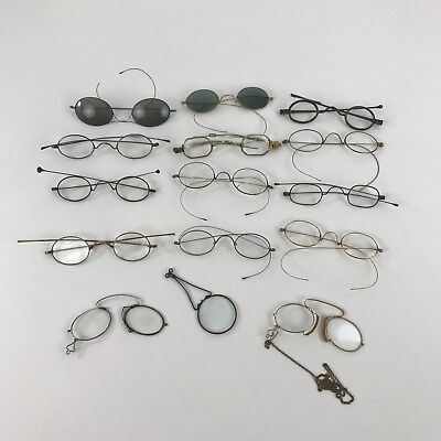 Lot of 14 Vintage Antique Reading Glasses Sunglasses Wire Frames 2 Pair 14K Gold