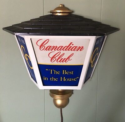 VINTAGE 1960's CANADIAN CLUB WALKER WHISKEY BAR ELECTRIC LIGHT WALL MOUNT