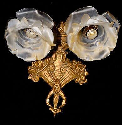 Rare French Bronze/ Brass Sconce Art Deco  Two Satin Rose Shades