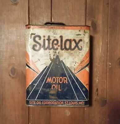 Site-lax Motor Oil Can 2 Gallon Vintage Oil Can (empty)