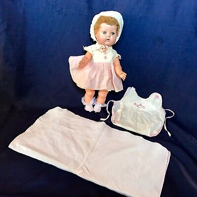 Vintage Tiny Tears Doll by American Character with clothes and accessories 1950