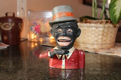 Original Cast Iron Mechanical Bank Jolly N High Hat - Black Americana, Antique