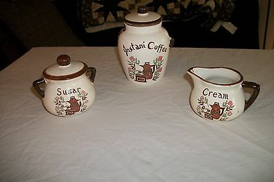 Vintage Instant Coffee Canister Set, Coffee, Sugar, Cream Japan