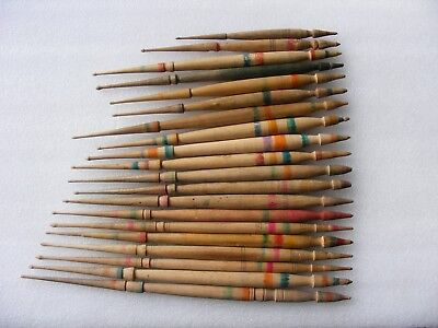 20 Antique Vintage Wooden Spindles For Spinning Wool