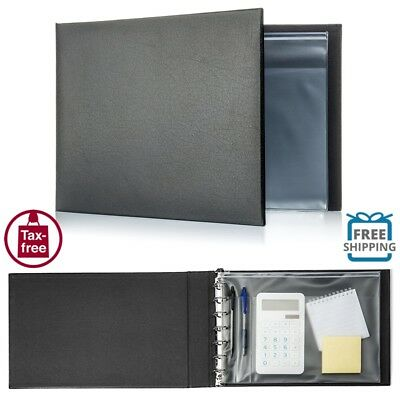 Business Check Book Binder 7 Ring 3 on a Page Storage Ledger File Office Black