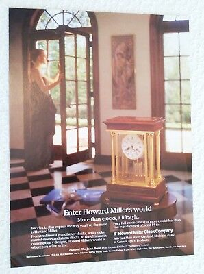 1986 Howard Miller Mantel Clock photo print ad