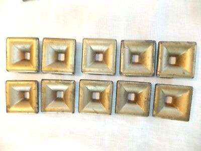 "10 Vtg Mid Century Brass 50's 60's ? Drawer Handle Pulls 2"" Square Gold Painted"
