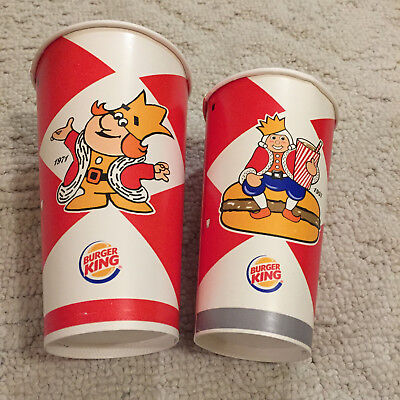 Pair 2012 Burger King whopper 55th Aniversary paper cups 1971 & 1957 King