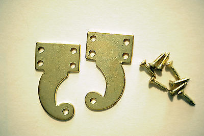 Pair of Brass Hinges for Tall Case Clock Hoods, w/screws