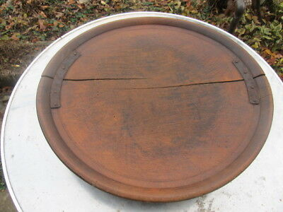 Antique Primitive Very Old Wooden Round Ottoman Dinning Table One Piece Of Wood