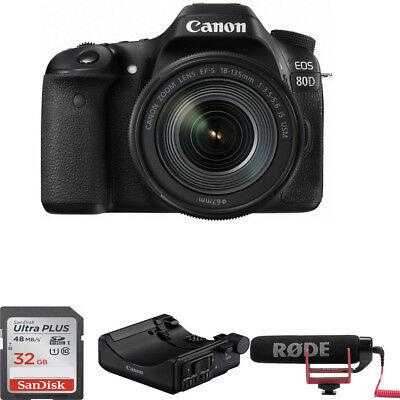 Canon EOS 80D DSLR Camera with 18-135mm Lens Video Creator Kit *1263C103*