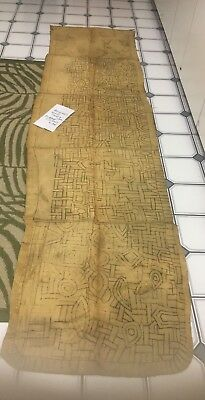 RARE Antique tribal African Kuba cloth textile hand made embroidered huge runner