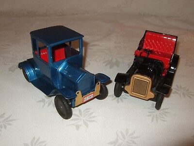 "Vintage Tin Friction Cars Lot of 2 Blue Black Automobiles  - Japan - 6"" Working"