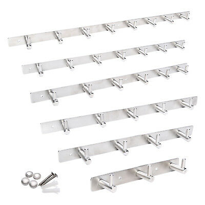 3~8 Hooks Wall Mounted Coat Rack Hat Clothes Hanging Hanger Robe Holder Rail