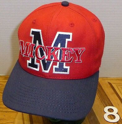 Disney Mickey Mouse Hat Red & Blue Snapback Made In The Usa Very Good Condition