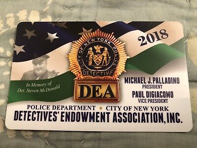 """new"" 2018 Collectible New York City Police Department ""dea"" Detective's Card"