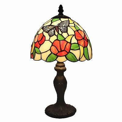 "Table Lamp Tiffany Style Stained Glass Butterfly Flowers 14.5"" Mini Desk Lamp"