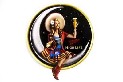 New Miller High Life Beer Metal Sign Woman Moon Embossed Great Responsibility