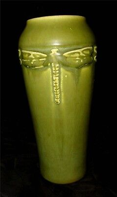 Rookwood Arts & Crafts Mission Matte green DRAGONFLY vase
