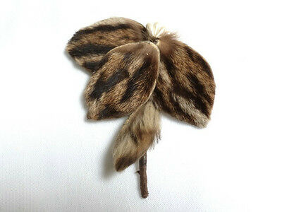 """vintage FRENCH authentic FUR BROOCH pin with a """"c"""" clasp"""