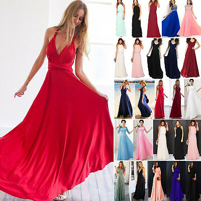 Damen Lang Maxikleid Chiffon Abendkleid Cocktailkleider Party Formal Ballkleider