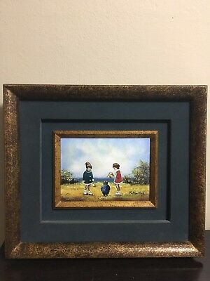 Stunning Antique Enamel On Copper Painting Signed
