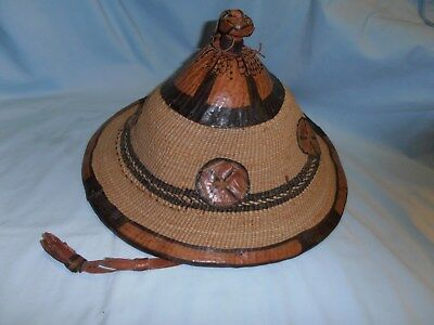 Vintage~Original~Handwoven/handmade Traditional African Fulina~Leather W/straw
