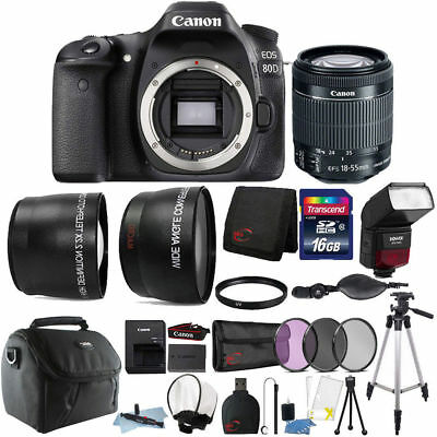 Canon EOS 80D 24.2MP Digital SLR Camera with 18-55mm Lens + Flash and 16GB KIT