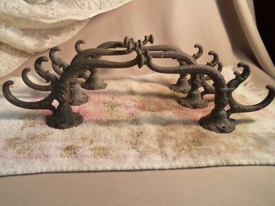 Antique 6 Cast Iron Coat Hooks For Hall Tree