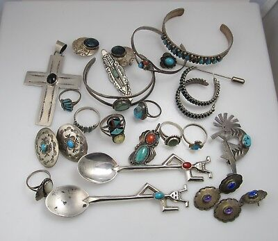 Nice Mixed Lot Of Vintage Sterling Turquoise Native American Ring Bracelet Old