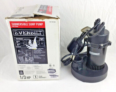 Everbilt 1/3 HP Submersible Sump Water Pump With Tether Tested